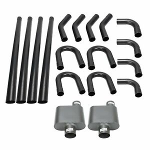 Diy Universal 2 5 Mild Steel Exhaust System Straight Bend Pipe Kit W Mufflers