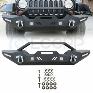 Off Road Complete Steel Front Bumper W 4x Led Lights For Jeep Wrangler Jk 07 18