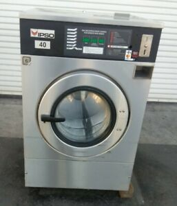 Ipso Front Load Washer Coin Op 40lb 3 Ph 240v 60hz Serial 19012601 refurb