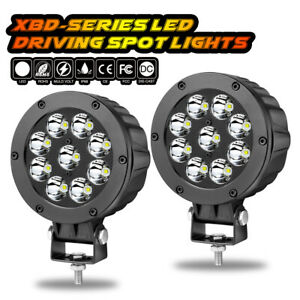 Pair 5 90w Cree Round Led Driving Spot Lights Bar Bumper Work Pods Off Road Atv