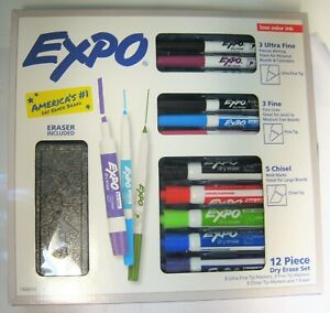 New Expo 12 Piece Dry Erase Variety Set With 11 Markers 1 Eraser Low Odor Ink