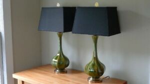 Table Lamps Pair Mid Century Tapered Blown Glass In Murano Style Swirl Of Colo