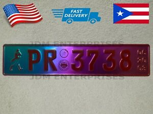 Euro License Plate Embossed Neochrome With Red Color Numbers Tablilla Tornasol