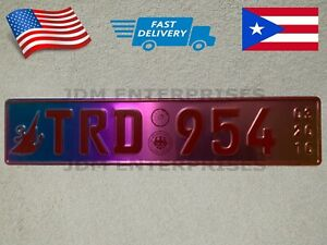 Euro License Plate Embossed Neochrome And Red Color Numbers Tablilla Tornasol
