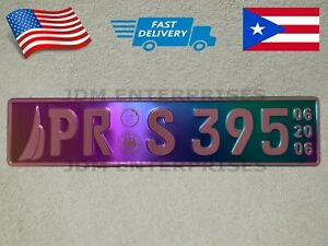 Euro License Plate Embossed Neochrome With Pink Color Numbers Tablilla Tornasol