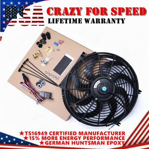 14 90w Radiator Cooling Fan Slim Electric 800cfm Thermostat Wiring Switch Relay
