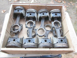 Set Of 8 Chevy 327 Engine Pistons Connecting Rods
