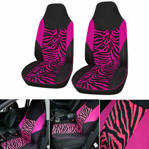 2 Zebra Printed Universal Car Truck Front Seat Cover Cushion Protector Washable