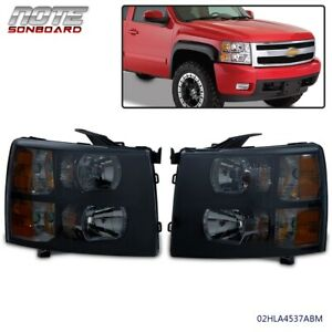 Fits 2007 2014 Chevy Silverado Black Smoked Headlights Lamps Pair Left Right