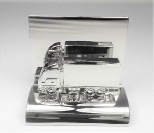 Aircraft Metal Tractor Trailer Cargo Delivery Truck Desktop Business Card Holder