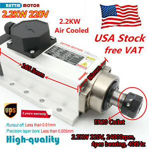 Square 2 2kw Er20 Air Cooled Spindle Motor 4 Bearing 24000rpm For Cnc Router us