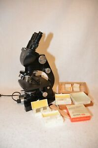 Vintage American Optical Ao Spencer Binocular Microscope With Light Plus Works