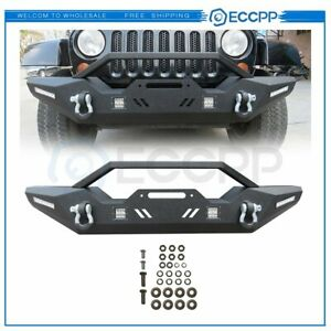 Heavy Duty Steel Front Bumper W Led Light Winch Plate For 07 18 Jeep Wrangler Jk