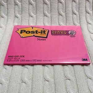 Post it Notes 8 X 6 45 Sheets Super Sticky Hot Pink Large