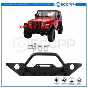 Heavy Front Bumper With Fog Light Holes Winch Plate For 07 18 Jeep Wrangler Jk