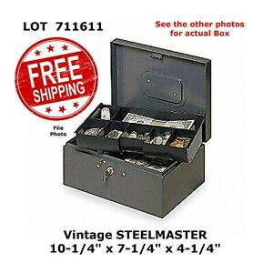Steelmaster Money Cash Box With 7 Compartment Tray Keyed Lock Vintage 711611