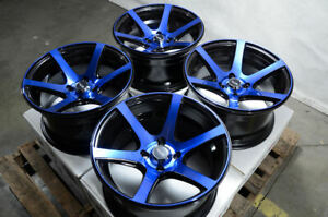 15x8 Wheels Honda Accord Civic Corolla Mini Cooper Integra Miata Black Rim 4x100