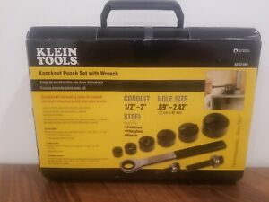 New Klein Tools 53732sen 1 2 2 Knockout Punch Set W Wrench Carrying Case