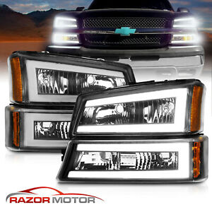For 2003 2007 Chevy Silverado 1500 2500 3500 Avalanche Led Bar Black Headlights