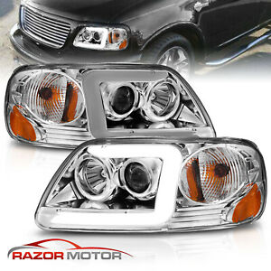 Led C Light Bar Fit 1997 2003 Ford F 150 Halo Ring Projector Chrome Headlights