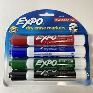 Expo Low odor Dry Erase Markers Chisel Tip Assorted Colors 4 count For Teachers