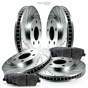 Full Kit Cross drilled Slotted Brake Rotors Disc And Ceramic Pads For H1 hummer