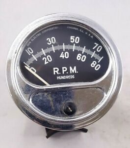 Vintage Sun Fz 88n 8 Cylinder Tachometer W Chrome Cup Mount Tested Working