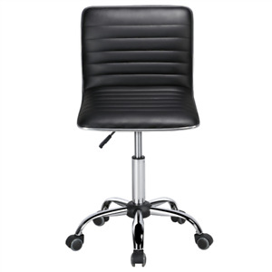 Leather Armless Desk Chair Adjustable Low Back Office Chair Ribbed Black Used