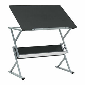 Offex Adjustable Top Home Office Drawing Table With Shelf Silver And Black
