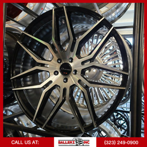 24x10 5x120 Giovanna Black Machined Wheel Tire Package
