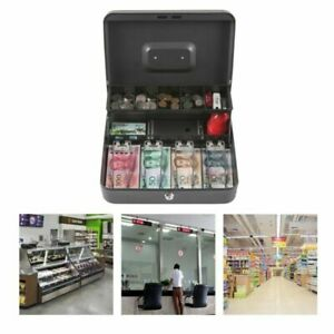 Cash Box With Compartment Tray Cashier Drawer Safe Key Money Currency Lock Black