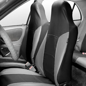 Highback Bucket Seat Covers Set Leather For Auto Car Suv Van Gray Black