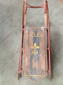 Rare Fancy Antique Victorian Stenciled Painted Wooden Childs Toy Sled For Helen
