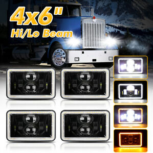 4pcs 4x6 Led Headlights Hilo Withdrl For Peterbilt 379 378 Freightliner Fld120