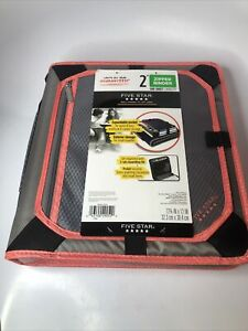 Five Star 2 Inch Zipper Binder 3 Ring Binder Expansion Panel Durable Peach New