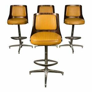 Chromcraft Mid Century Modern Bar Stool With Gold Vinyl Set Of 4
