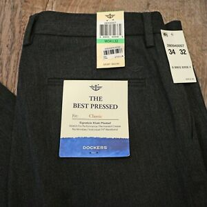 DOCKERS Classic Pleated The Best Press Stretch Pants 34 x 32 Gray $22.99