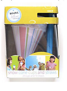 Snow Cone Party Cups And Straws 20 Cups 10 Straws