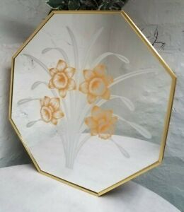 Octagon Vintage Etched Windsor Art Large Mirror Robert Slimbach Daffodil Flowers