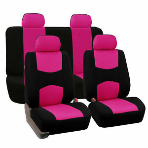 Car Seat Covers For Auto Pink W Steering Wheel belt Pads 4 Head Rests