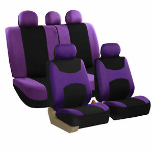 Car Seat Cover For Cars Full Set Purple With 5 Head Rest Covers