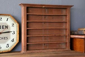 Antique Vintage Wood Cubby Cabinet Shelf Pool Billiards Wall Hanging Ball Rack