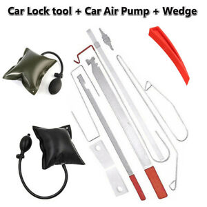 Car Door Lock Out Emergency Open Unlock Key Tools Kit Air Pump Wedge Universal