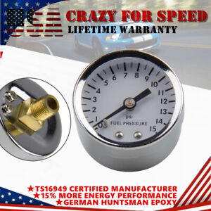 Universal 1 5 Direct Mount Low Pressure Fuel Gauge 0 15 Psi 1 8 Npt Male Fit
