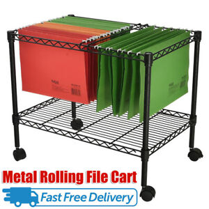 Portable Metal Rolling Mobile File Cart Black For Letter legal Office Supplies