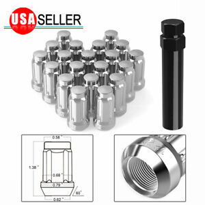 20 Chrome 6 Spline Tuner 1 2 20 Lug Nuts W key For Jeep Wrangler Ford Mustang