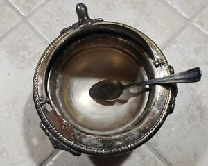 F B Rogers Silver Plate Roll Domed Footed Butter Caviar Serving Bowl Dish W Spoo