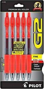 5 Pack Pilot G2 Refillable Retractable Rolling Ball Gel Pens Fine 0 7mm Red