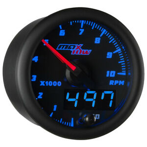 Slightly Used Black Blue Maxtow Double Vision Tachometer 10 000 Rpm Gauge