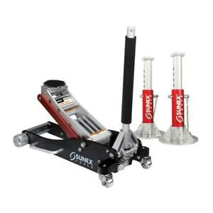 Sunex Tools 3 ton Aluminum Low Profile Floor Jack Rapid Rise With Jack Stands